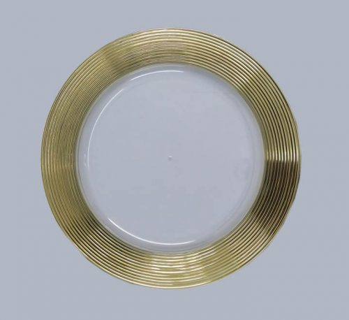 Clear Plastic Underplate with Multi Circle Gold Rim