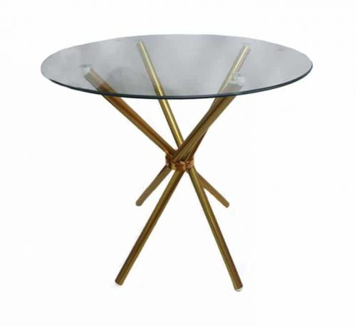 Round Glass Table With Gold Metal Legs