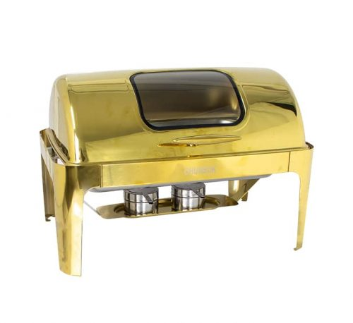 Rectangular Roll Top Chafing Dish Gold