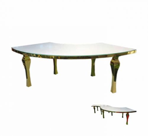 Curve table white with gold frame