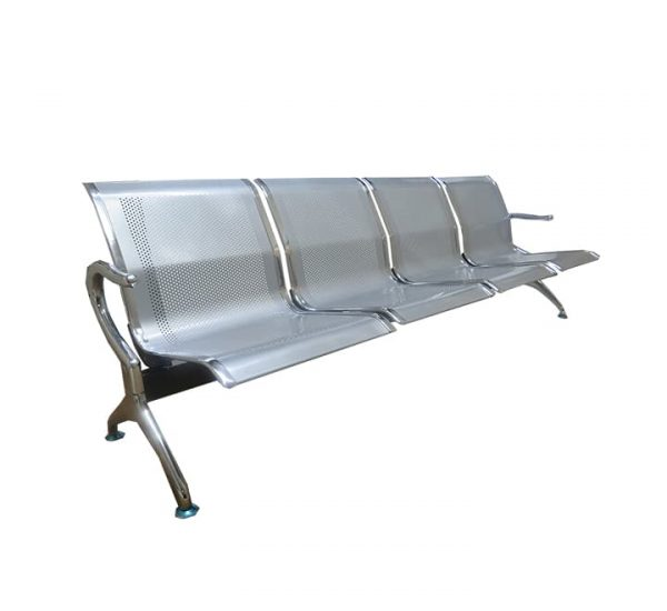 4 Seater Flash Silver Steel Waiting Area Bench