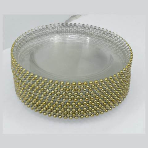 Clear Glass Gold Beaded Underplate 32cm